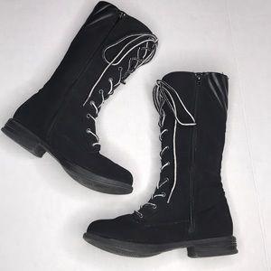 Qupid Black Combat Below the Knee Lace Up Boots 8